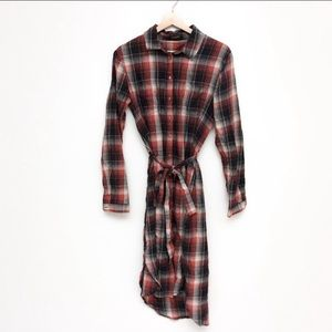 Soaked in Luxury Belted Plaid Midi Shirt Dress M